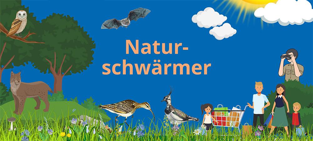 Illustration mit Luchs, Eule, Kiebitz, Naturbeobachter mit Fernglas und einer Familie mit Einkaufswagen